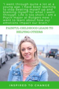 Painful childhood helping others. Using what happened in her past to be a help to others going through tough things in their lives. #inspire #changetheworld #child #college #portraitsofthejerseyshore